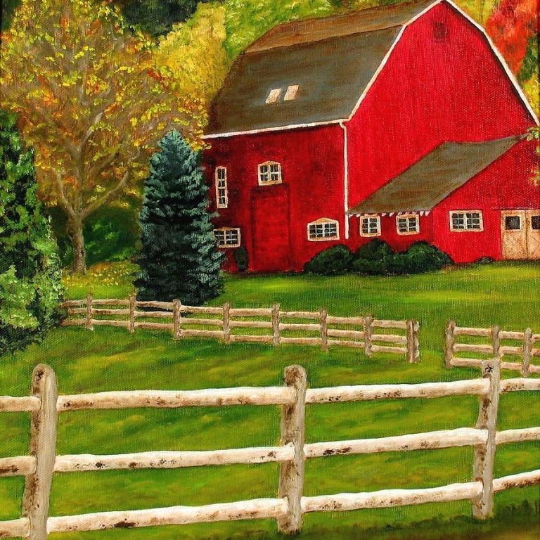 Red Barn painting by William Erwin, represents the landscape of Iowa.
